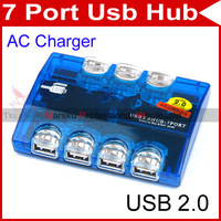 USB LED 7 Port HUB Powered AC Adapter Cable High Speed #85