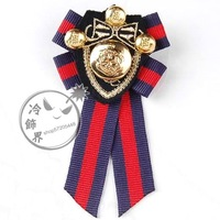 Male women's vintage fabric suit fashion feather quality badge cloth brooch navy