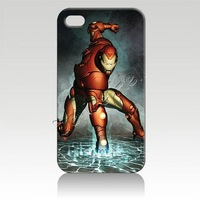 Free shipping 35% off for 10pcs  for Iphone 4 4s iphone 5 luxury designer Hard Cover Case Skin iron man IZC1090 packaging