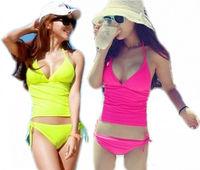 Women Ladies Sexy Fluorescent Halterneck Bikini Tankini 2PCS Swimwear Beachwear Free Shipping Wholesale
