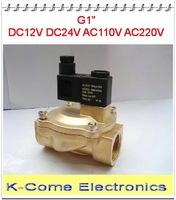 Pneumatic Fluid Control Valves 1'' Pilot Operated Solenoid Valve 2 Way Brass Valve 2V250-25 Air Oil Water 12v 24v 110v 220v