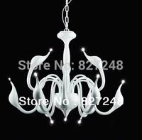 innovative items 110v 220v 12 head g4 12v 20w halogen bulbs swan lamp chandelier lights for living room parlor iron white color