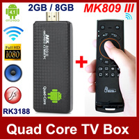 MK809 III Android 4.1 TV Box Mini PC Quad Core RK3188 1.6GHz 2GB RAM 8GB ROM Bluetooth HDMI TV Stick + Free Mele F10 Fly Mouse