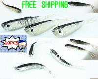 Free Shipping 10 Pcs 75mm 2.5g Soft Tiddler Bait Fluke Fish Fishing Lures Saltwater Lure Tackle
