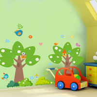 Child real cartoon wall stickers painting big tree