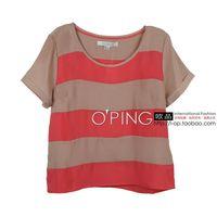 Fashion vintage all-match color block wide stripe patchwork 2d02 short-sleeve chiffon shirt