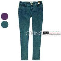 Fashion water wash retro pocket finishing multicolour skinny jeans pants trousers 2b01