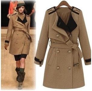 Big SALE  2014 winter fashion handsome turn-down collar women's  wool coat warm outerwear khaki dark blue T134