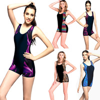 Quality goods sold plus-size women swimwear boxer one-piece hot spring bathing suit Free shipping