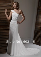 QN130530-0907  Classical One-Shoulder Chiffon and Satin with Beading Sash  Bridal Dresses