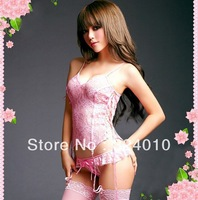 Pink Sexy Lingerie Bridal Lace Belted Sleepwear+garter belt+g-string+stocking free shipping
