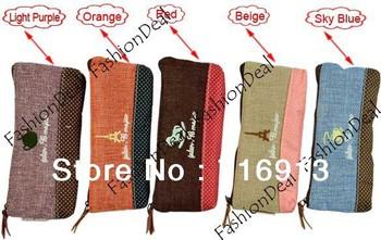 Wholesale 2013 New Cute Cotton and linen Pen Case Pencil Bag Cosmetic bag Pouch Purse 14597