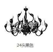 novelty light 110v 220v power 24 head swan lamp modern pendant light for bedroom parlor living room black color cfl freeshipping