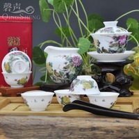Ceramic handmade 8 kung fu tea set pastels, rhyme