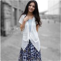 2012 short-sleeve zipper irregular chiffon patchwork sunscreen shirt cardigan air conditioning shirt