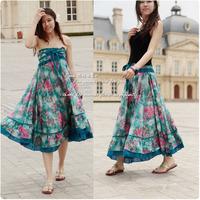 Bohemia full dress expansion skirt floral two ways half-skirt full dress tube top dress bust skirt beach dress