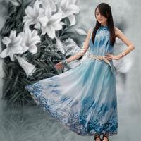 Chiffon one-piece dress summer bohemia beach dress full dress women skirt blue