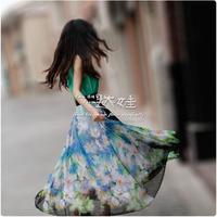 Sleeveless expansion skirt bottom long beach dress chiffon one-piece dress 2013 spring and summer