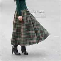 2012 expansion skirt bust skirt plaid full dress vintage