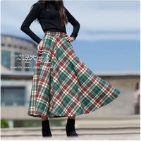Women's bust skirt woolen full dress plaid pattern vintage skirt
