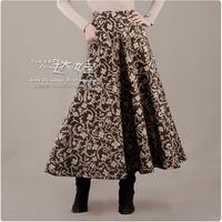 Women's bust skirt woolen skirt thickening flower graphic patterns full dress