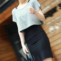 2013 female t-shirt short-sleeve modal loose short design batwing sleeve shirt pullover short t-shirt