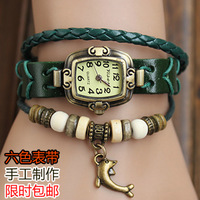 Free Shipping Knitted bracelet watch lovely vintage cowhide table decoration genuine leather watch