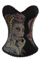 Sexy Lingerie Sugar Skull Goth Punk Rock Hook Tattoo Rhinestone Boned Corset Bustier Overbust Drop Shipping