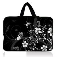 "White Flower 10'',12"",13"",14"" ,15"" &17"" Inch Mini Laptop Case Computer PC Netbook Bag Pouch Sleeve Cover Handle"