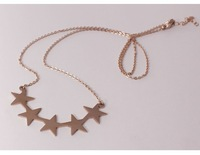 Franco New Design pentagram charms choker necklace women titanium steel 14K rose gold Plated Fashion jewelry wholesale