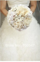 European Popular item!!!! Beautiful Luxury Bridal Boquet In Ivory Wedding Holding Flowers EMS Free Shipping!!