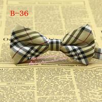 New Hot,Men Khaki Diamond Tartan Check Plaid pre-tie adjustable Tuxedo Cotton Party bowtie,Adults Fashion Bow tie/butterfly,B36