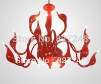 modern style lamp 110v 220v 15*20w swan lamp iron pendant lights for living room restaurant study parlor bedroom hotel room red