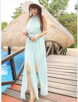 2013 bohemia beach dress chiffon stand collar placketing racerback slim waist full dress one-piece dress blue