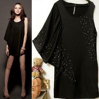 women's summer fashion ruffle sleeve asymmetrical diamond dress black satin dress nice dance wear party dress for ladies