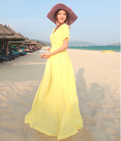 New arrival 2013 fairy chiffon bohemia V-neck solid color full dress mopping the floor beach dress short-sleeve dress