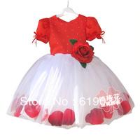 Free shipping 2013  children's rose romantic expansion bottom wedding princess dress wholesale