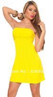 2013 women fashion Free Shipping sweet yellow off the shoulder women Sexy Mini dress free size nightclub sheath dresses