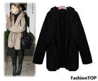 Plus size coat 2013 women's berber fleece overcoat cloak loose woolen outerwear,women's overcoat,women's outerwear Free shipping