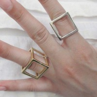 New Retro Punk Rock Gold/Silver Metal 3D Cage Art Deco Cube Finger Ring Factory direct fast free shipping retail&wholesale