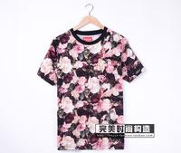 free shipping men's women's rose flower print shirt cotton short sleeve t-shirt shirts tops tees
