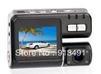 Car DVR Dual Lens F70 HD 720p G-Sensor H.264 Extra AV-IN Vehicle Camera Video Recorder 4-LED/2.0' LCD/TV-Out 30fps