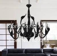 newest Italian design modern style lighting 110v 220v 15*20w bulbs swan lamp chandelier for living room residential black color