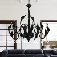 newest Italian design modern style lighting 110v 220v 15*20w bulbs swan lamp chandelier for living room residential black color