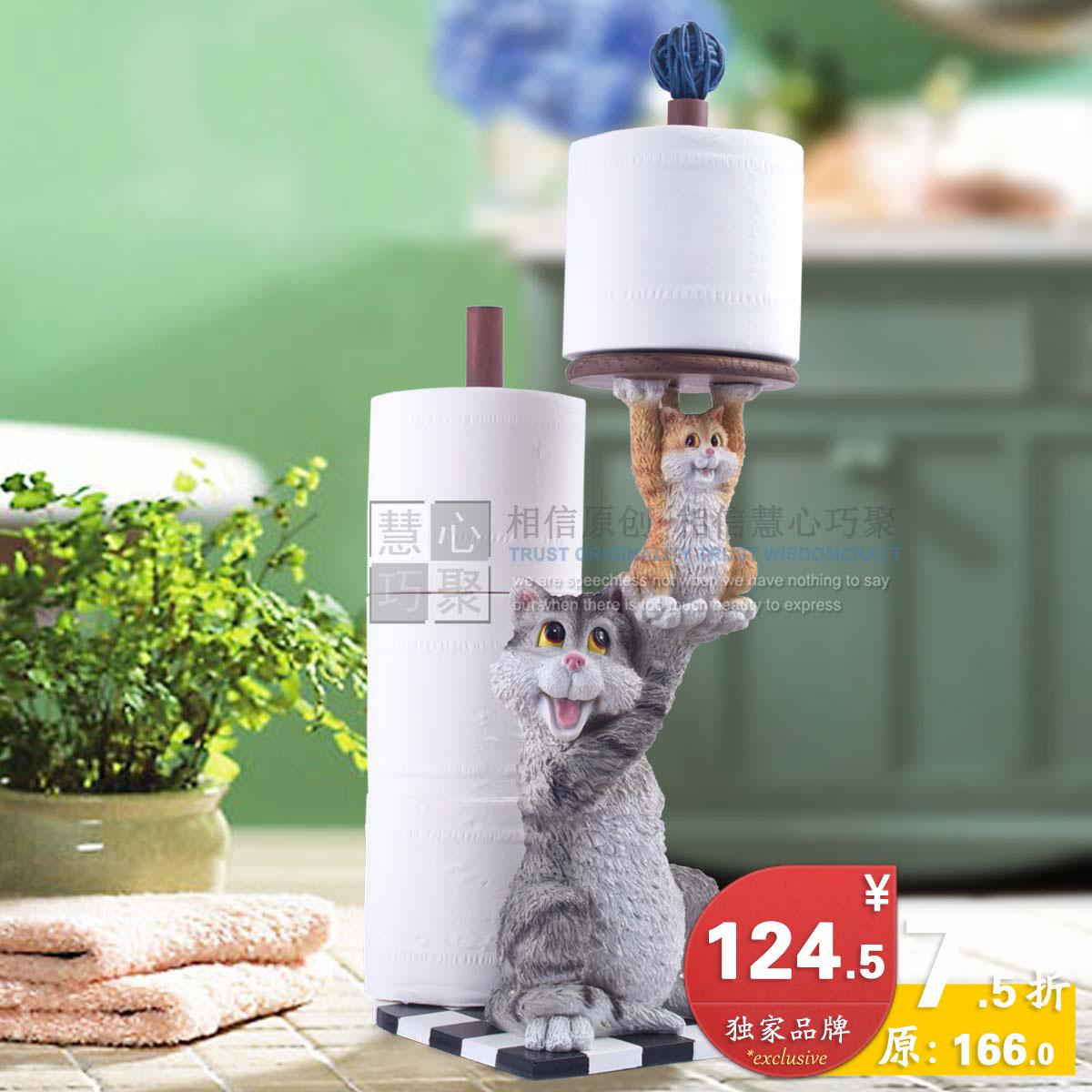 Bathroom paper towel holder cat resin towel rack(China (Mainland))