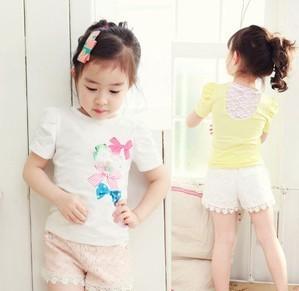 13 children's clothing female child bow flower puff sleeve short-sleeve T-shirt female child short t