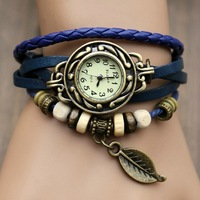 DHL/EMS free shipping. Hot-selling cowhide watchband punk watch women's watch trend bracelet watch leaves