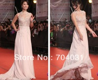 Red Carpet Celebrity Dresses baby pink beige chiffon with applique beaded and floor-length