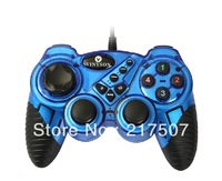 Wired blue USB PC computer game pad controller Joystick Joypad of  Double Shock Vibration for Laptop, free shipping