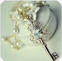 (Min order $10) Free Shipping!Jeweled crown key Pearl CZ Diamond sweater chain!  Key necklace wholesale